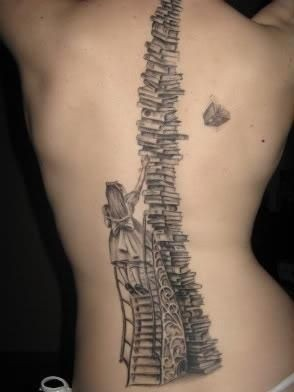 book spine tattoo